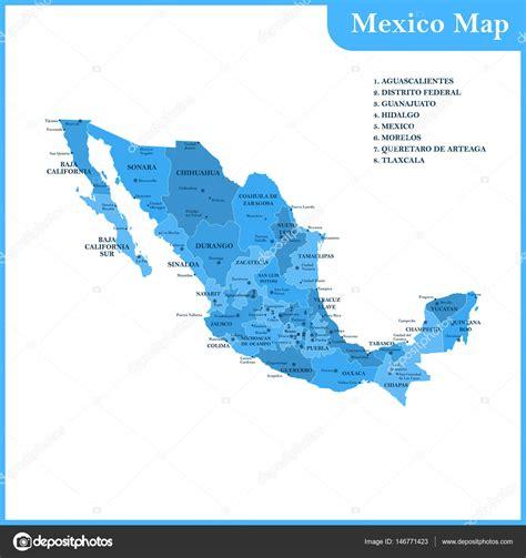 El mapa detallado de México con ciudades, regiones o ...