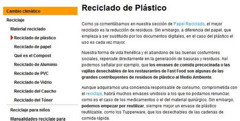 El reciclaje del plástico   Recurso educativo 36283   Tiching