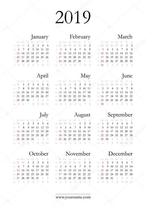 Elegancki kalendarz 2019 — Grafika wektorowa © olania ...