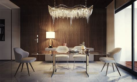 Elegant Dining Room Design With Modern Lights As The Main ...