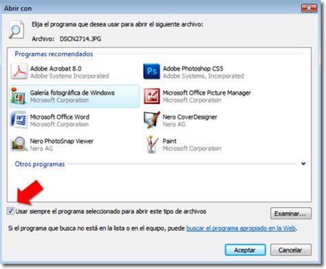 Elegir un programa predeterminado para abrir archivos en ...