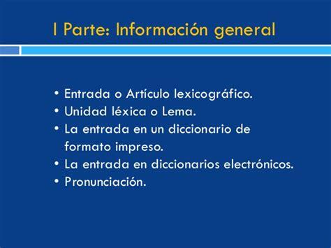 Elementos de un diccionario bilingüe