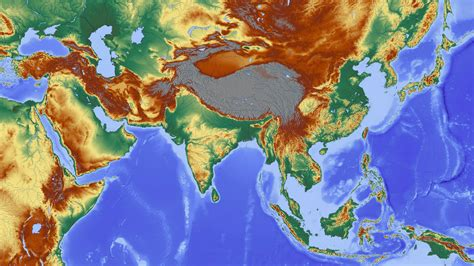 Elevation map of Asia Elevation Map, Elevayion Map, Free ...