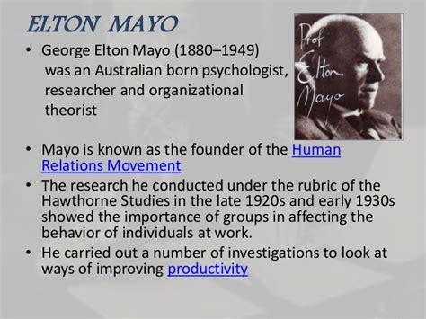 Elton mayo hawthorne experiment
