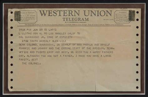 ELVIS PRESLEY TELEGRAM FROM COL. PARKER - Current price: $850