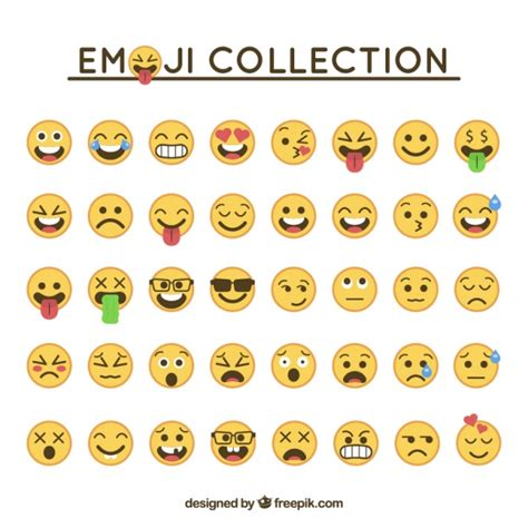 Emoticon collection in flat design Vector | Free Download