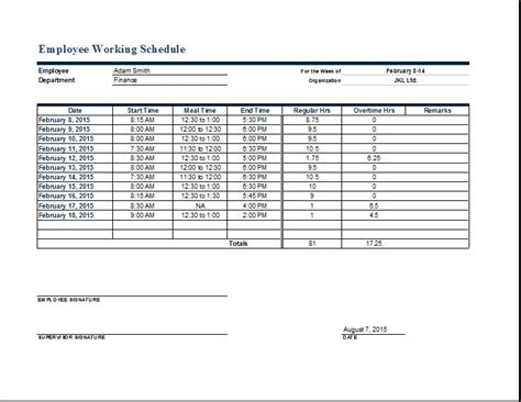 Employee Work Schedule Format | Word & Excel Templates