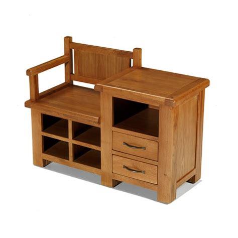 Emsworth Oak Hall Shoe Storage Bench - Lifestyle Furniture UK