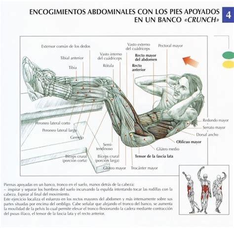 Encogimientos abdominales con los pies apoyados en un ...