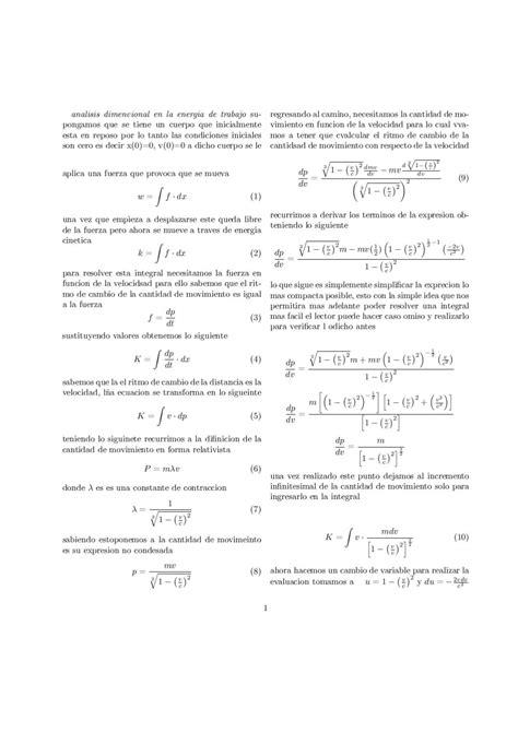 energia cinetica relativista y segunda ley de newton by ...