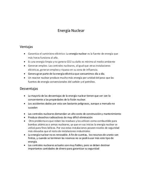 Energía nuclear .. ventajas y desventajas