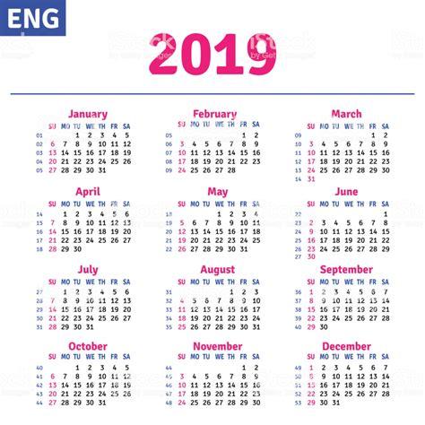 English Calendar 2019 Stock Vector Art & More Images of ...