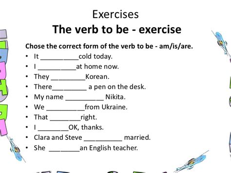 English verb to be present tense