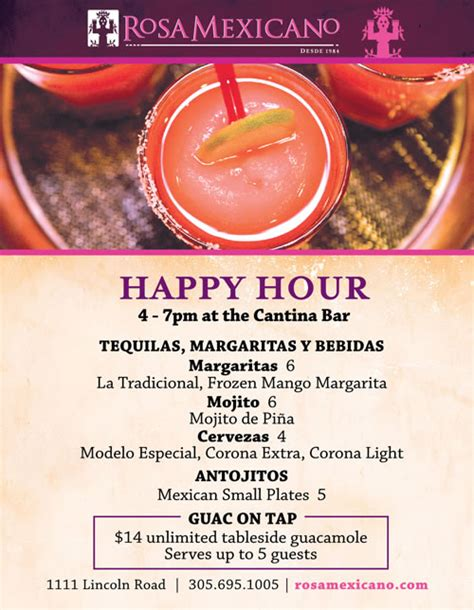 Enjoy a great Happy Hour at Rosa Mexicano South Beach