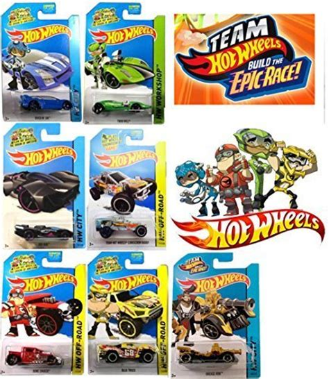 Epic Race Team Hot Wheels 7 Car Set with Grease Rod ...