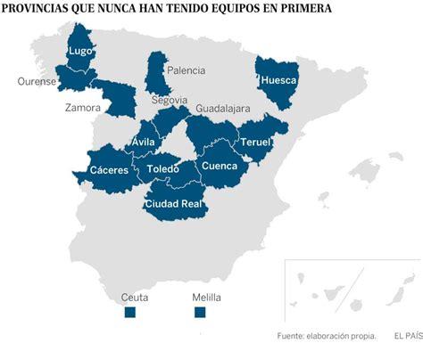 Equipos de Primera División: El mapa del fútbol español ...