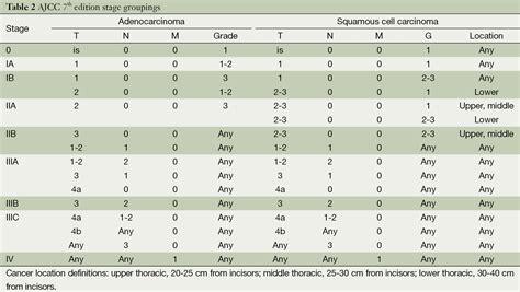 Esophageal Cancer Staging Ajcc 7th Edition