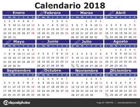Español calendario 2018 horizontal — Archivo Imágenes ...