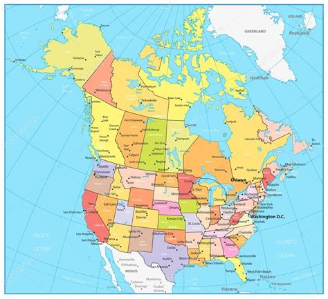 Estados Unidos y Canadá gran mapa político detallado ...