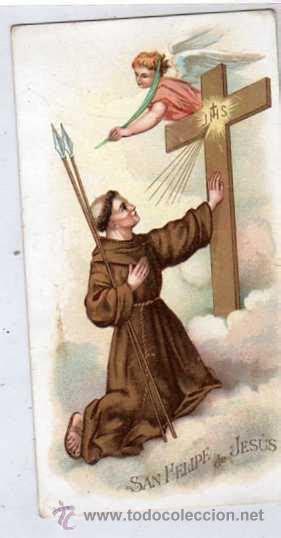 estampa de san felipe de jesus con publicidad a - Comprar ...