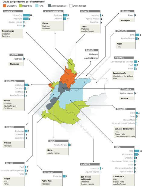 Este es el mapa de las bandas criminales en Colombia ...