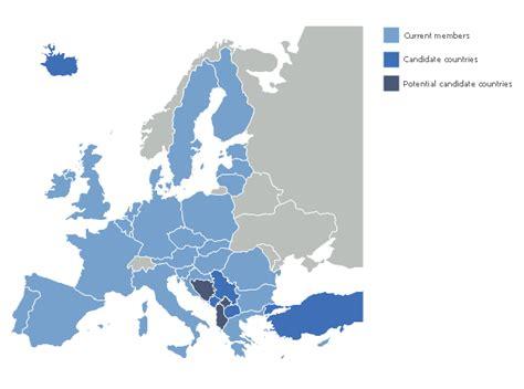 EU 28: Candidate countries map