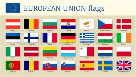 European union big set flags, twenty eight, 28 EU member ...