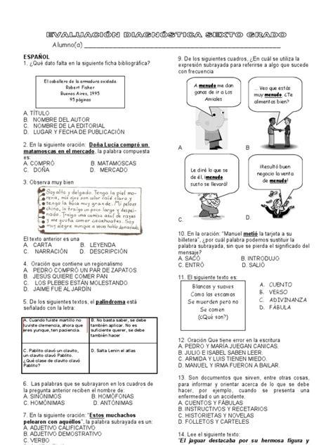 Evaluación Diagnóstica. Sexto grado