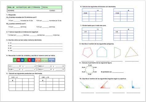 Evaluación Matemáticas ABN de 3º unidad 8 y para 4º unidad ...