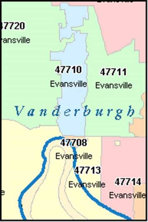 EVANSVILLE Indiana, IN ZIP Code Map Downloads