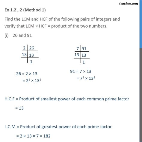 Ex 1.2, 2 - Find LCM and HCF of the following pairs - Ex 1.2
