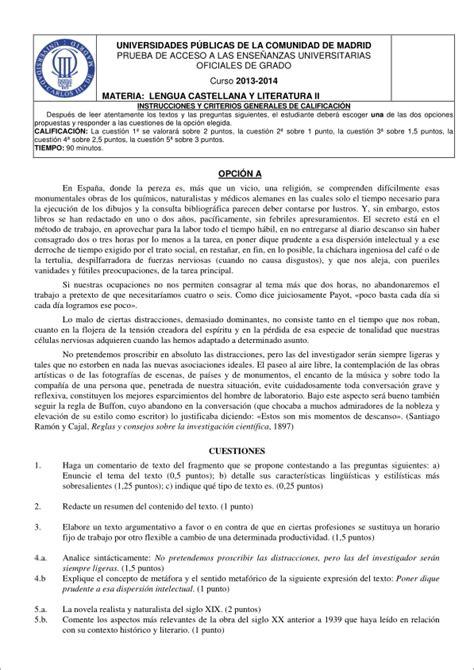 examen de selectividad de lengua castellana y literatura ...