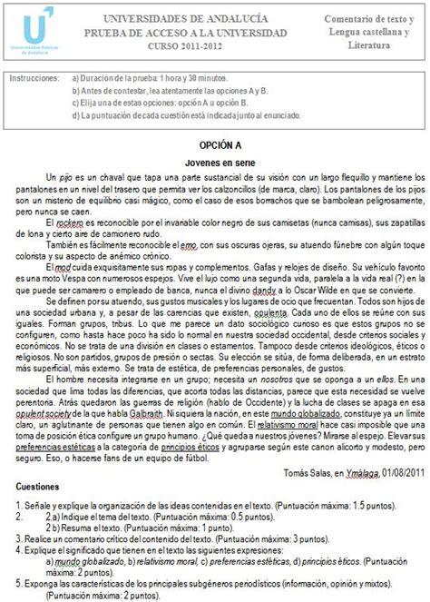 Examen de Selectividad: Lengua castellana y Literatura 1 ...