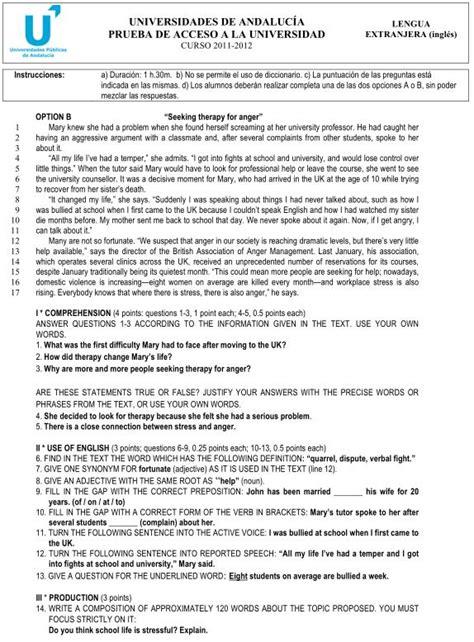 Examen de Selectividad: Lengua extranjera (Inglés) Opción ...