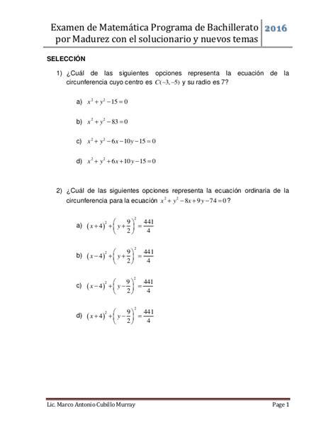 Examen matemática bachillerato por madurez 01 2016