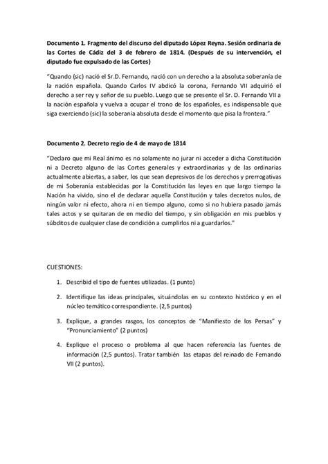 EXAMEN SELECTIVIDAD. HISTORIA DE ESPAÑA