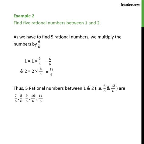 Example 2 - Find five rational numbers between 1 and 2 ...