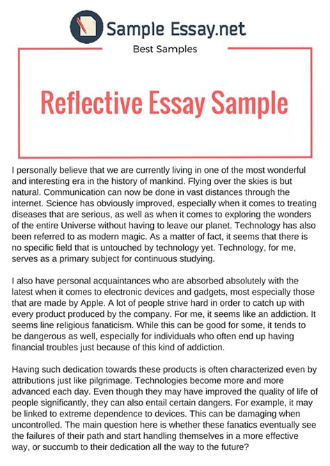 Example Of Reflective Essay That Really Stand Out | Sample ...