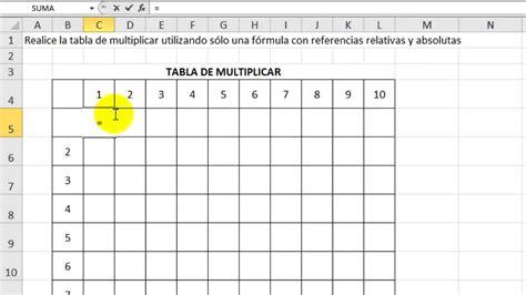 Excel 2010 Básico Ejercicio 12 - Tabla de multiplicar ...
