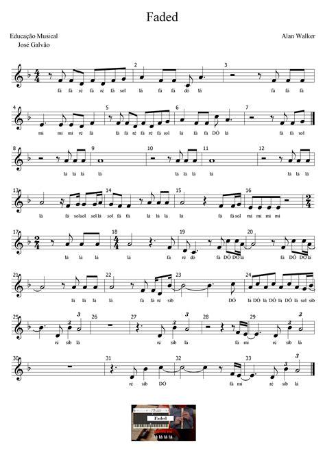 Faded - Alan Walker Partitura com legenda Educação Musical ...