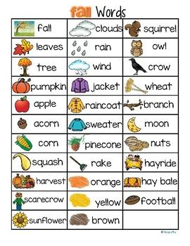FALL AUTUMN Vocabulary List 32 Words and Pictures FREE by ...