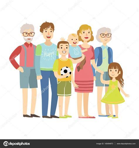 Familia completa con padres, abuelos y dos niños ...