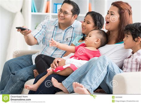 Family TV watching stock photo. Image of daughter, baby ...