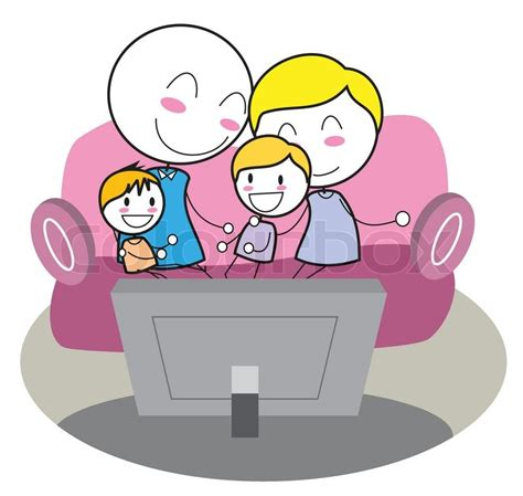 Family watching tv | Stock Vector | Colourbox