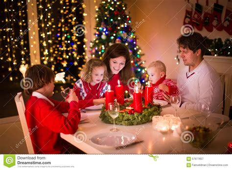 Family With Children At Christmas Dinner Stock Image ...