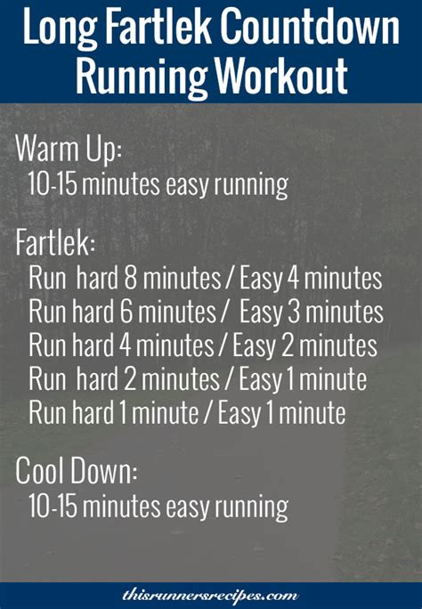 Fartlek Countdown Running Workout for Off Season Speed Work