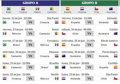 Fechas y Horarios 1º Ronda Mundial Brasil 2014 | Diario Actual