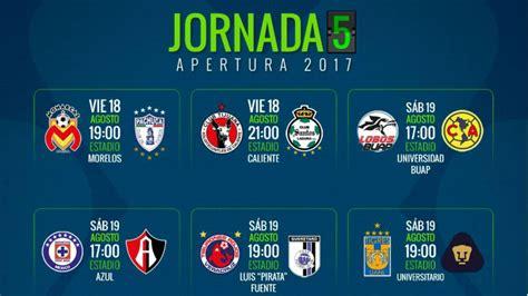 Fechas y horarios de la jornada 5 del Apertura 2017 de la ...