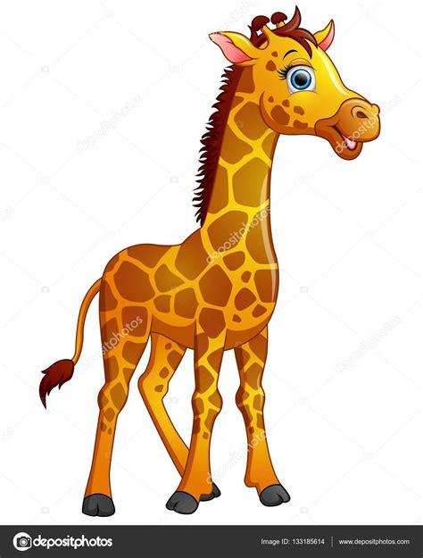 Feliz de dibujos animados jirafa aislada sobre fondo ...