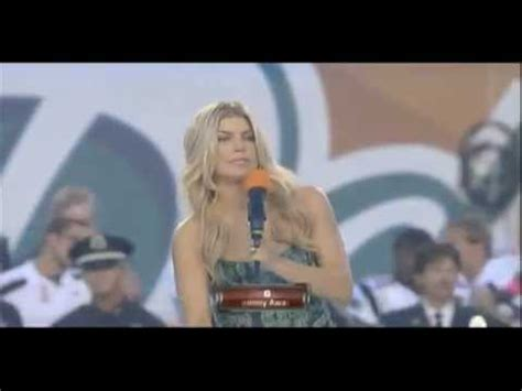 Fergie singing the national anthem at the Dolphins vs ...